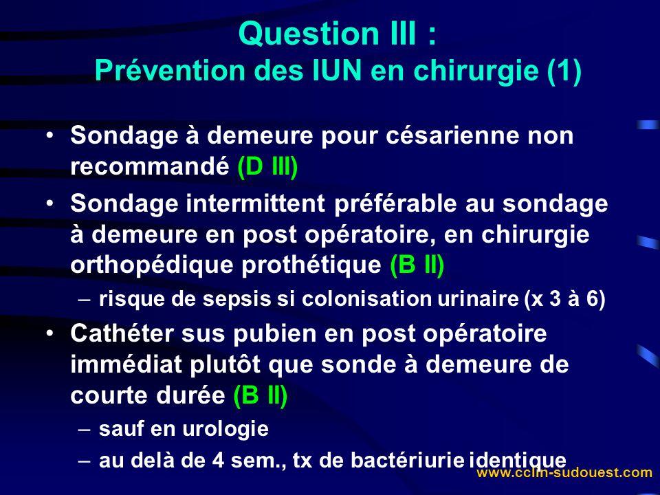 www.cclin-sudouest.com Sondage à demeure pour césarienne non recommandé (D III) Sondage intermittent préférable au sondage à demeure en post opératoir