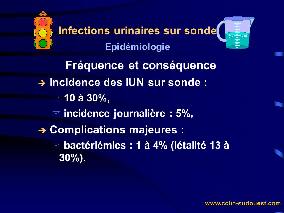 www.cclin-sudouest.com Infections urinaires sur sonde Epidémiologie Fréquence du sondage è Incidence voisine de 10 % : + 10,4% (HC Lyon 1986) dont 7,5% en médecine et 24,8% en chirurgie, è Prévalence globale de 10% (CTIN 1996) : + réanimation : 57%, + chirurgie : 18,3%, + médecine : 8,3%, + moyen séjour 8,0% et long séjour 3,2%.