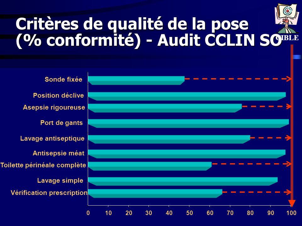 www.cclin-sudouest.com Critères de qualité de la pose (% conformité) - Audit CCLIN SO 0102030405060708090100 Vérification prescription Lavage simple T