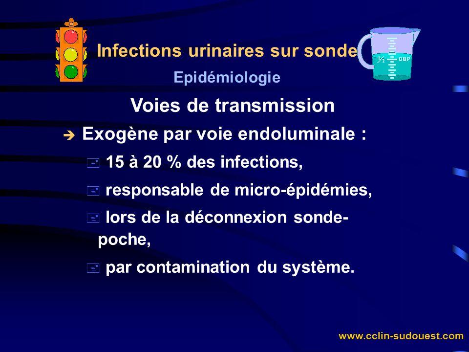 www.cclin-sudouest.com Infections urinaires sur sonde Epidémiologie Voies de transmission è Endogène par voie extraluminale : + par voie ascendante à partir de la flore fécale loco-régionale, + 70 % des bactériuries chez la femme, + 30 % des bactériuries chez l homme.