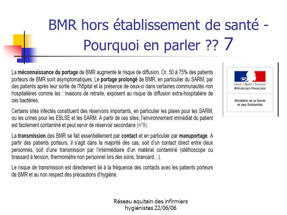 Réseau aquitain des infirmiers hygiénistes 22/06/06 BMR hors établissement de santé - Pourquoi en parler ?? 7