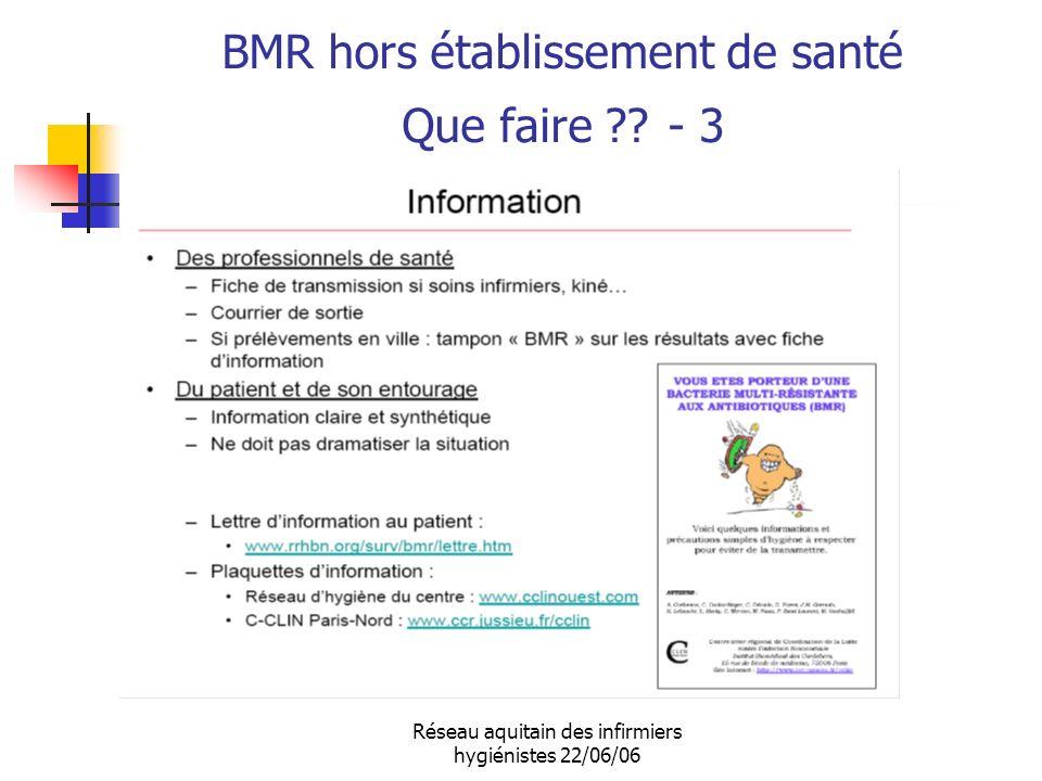 Réseau aquitain des infirmiers hygiénistes 22/06/06 BMR hors établissement de santé Que faire ?? - 3