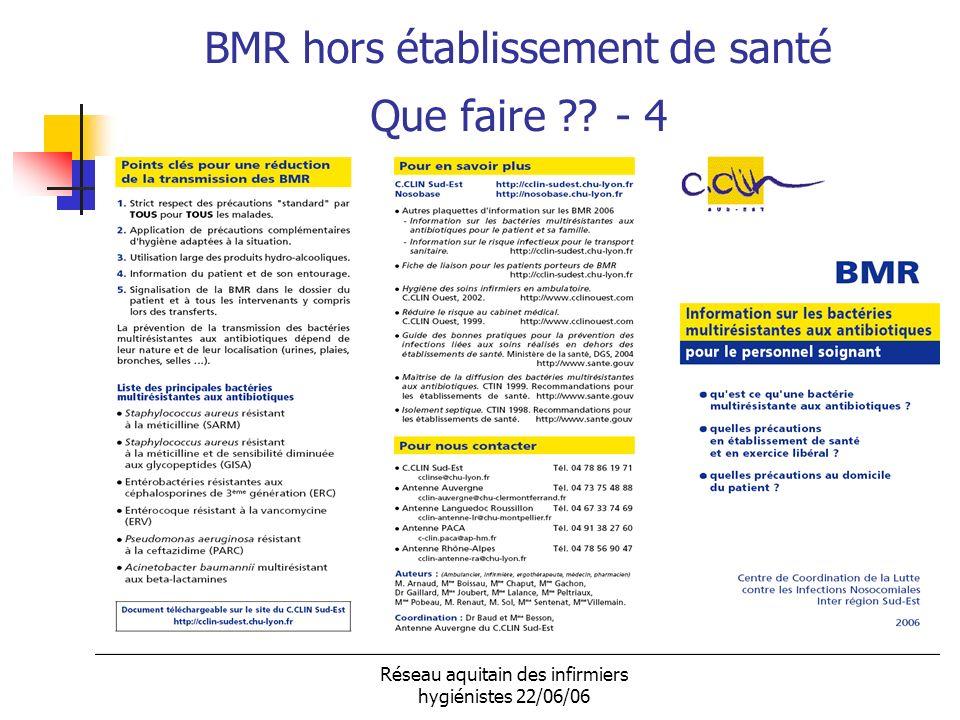 Réseau aquitain des infirmiers hygiénistes 22/06/06 BMR hors établissement de santé Que faire ?? - 4