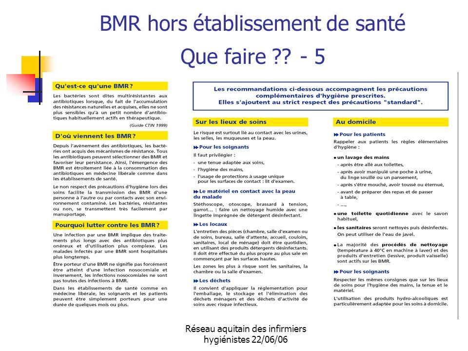 Réseau aquitain des infirmiers hygiénistes 22/06/06 BMR hors établissement de santé Que faire ?? - 5