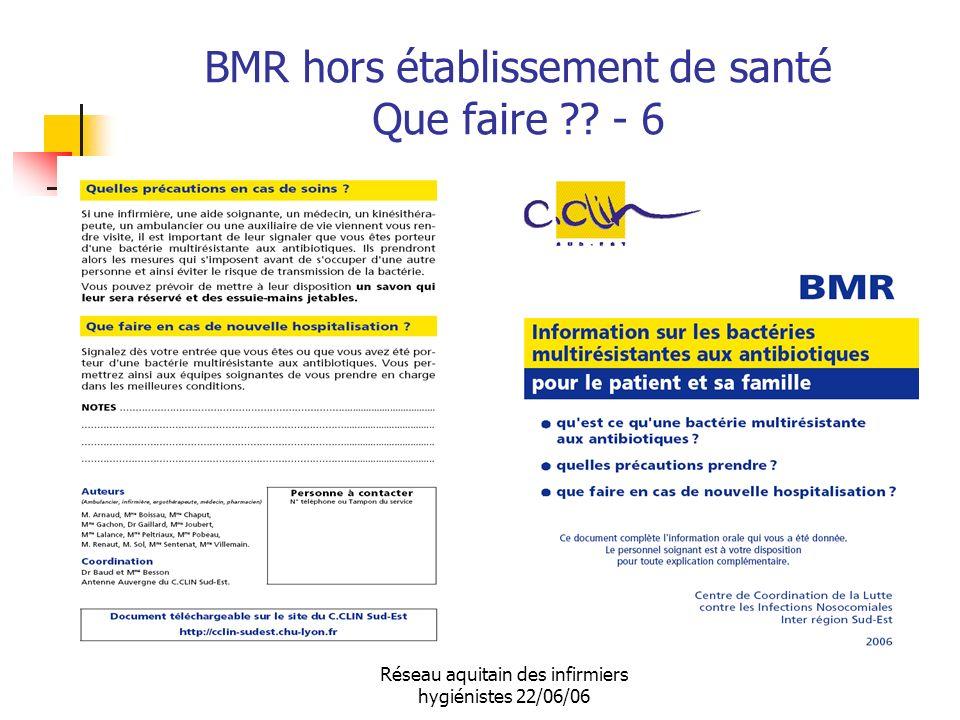 Réseau aquitain des infirmiers hygiénistes 22/06/06 BMR hors établissement de santé Que faire ?? - 6