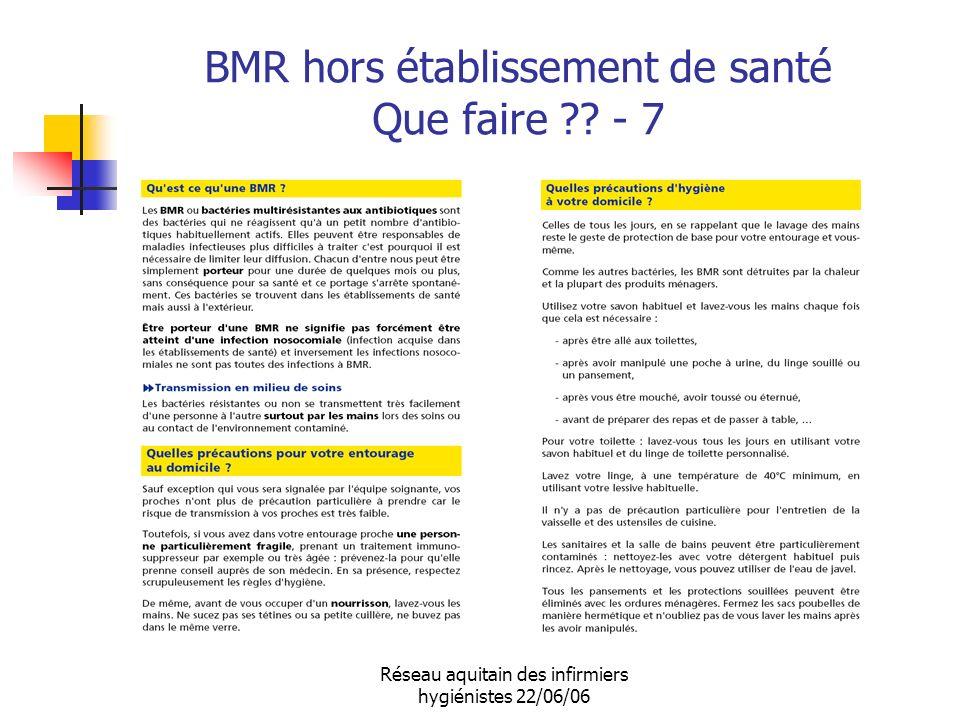 Réseau aquitain des infirmiers hygiénistes 22/06/06 BMR hors établissement de santé Que faire ?? - 7