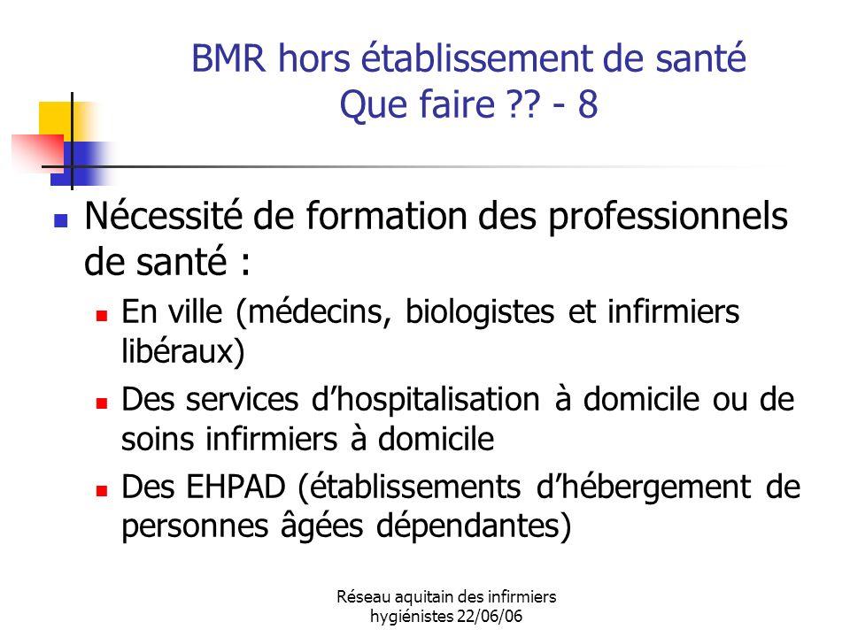 Réseau aquitain des infirmiers hygiénistes 22/06/06 BMR hors établissement de santé Que faire ?? - 8 Nécessité de formation des professionnels de sant