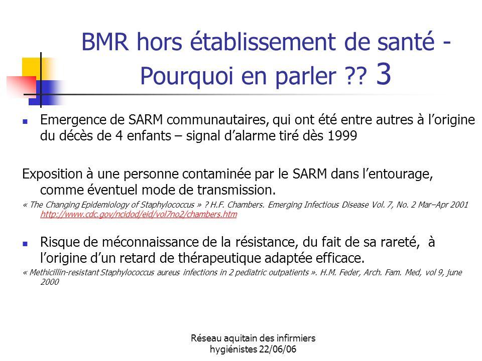 Réseau aquitain des infirmiers hygiénistes 22/06/06 BMR hors établissement de santé - Pourquoi en parler ?? 3 Emergence de SARM communautaires, qui on