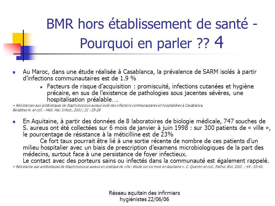 Réseau aquitain des infirmiers hygiénistes 22/06/06 BMR hors établissement de santé - Pourquoi en parler ?? 4 Au Maroc, dans une étude réalisée à Casa