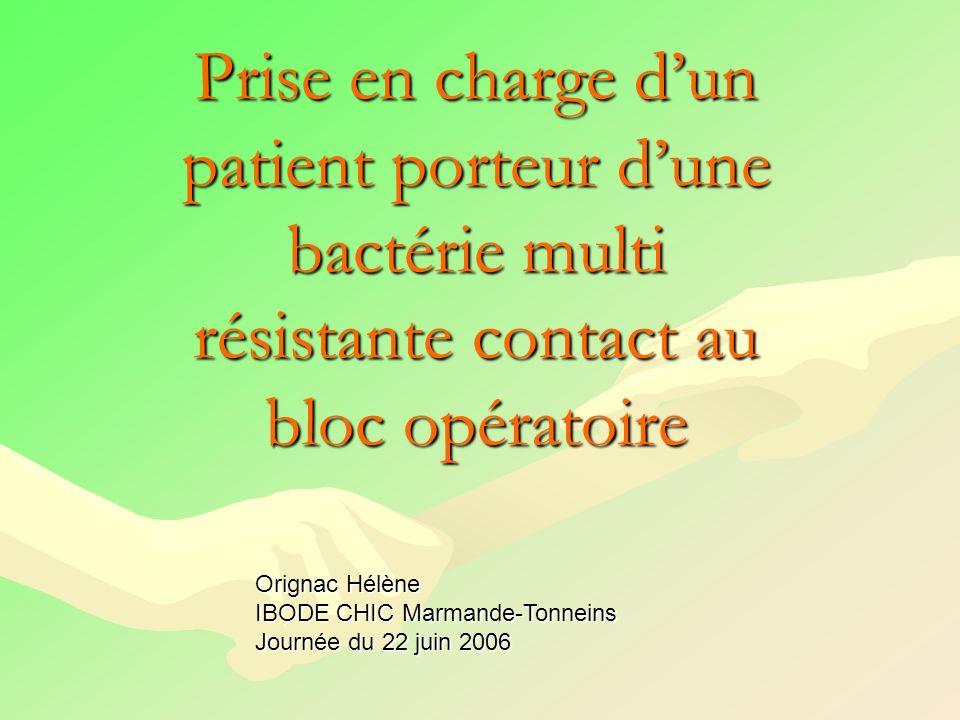 Protocole de prise en charge dun patient « BMR contact » spécifique au bloc opératoire Population ciblée: Tout patient colonisé ou infectéTout patient colonisé ou infecté par une BMR par une BMR à transmission contact : à transmission contact : SARM SARM