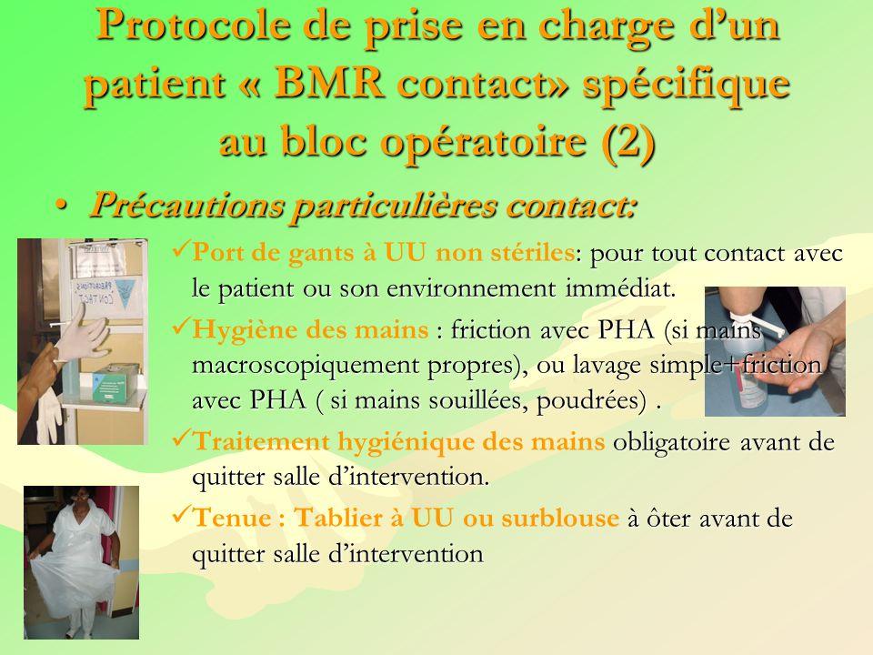 Protocole de prise en charge dun patient « BMR contact» spécifique au bloc opératoire (2) Précautions particulières contact:Précautions particulières