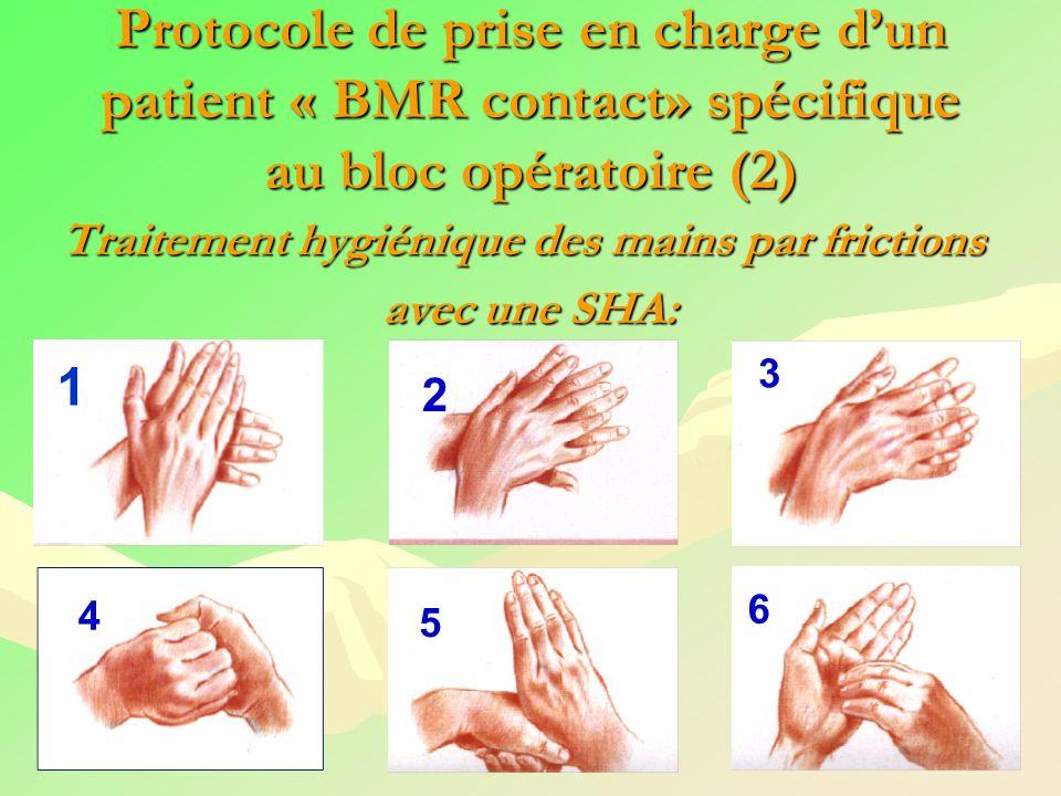 Protocole de prise en charge dun patient « BMR contact» spécifique au bloc opératoire (2) Traitement hygiénique des mains par frictions avec une SHA: