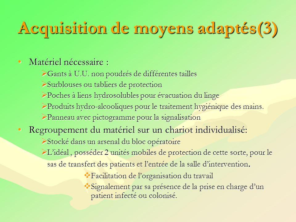 Acquisition de moyens adaptés(3) Matériel nécessaire :Matériel nécessaire : Gants à U.U. non poudrés de différentes tailles Gants à U.U. non poudrés d