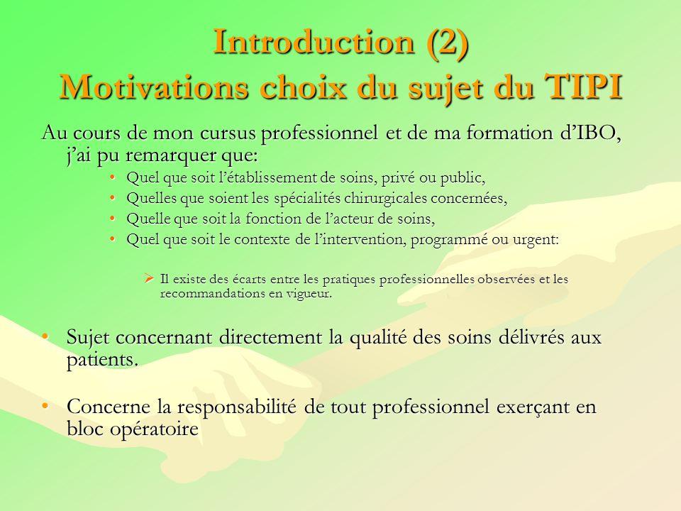 Introduction (2) Motivations choix du sujet du TIPI Au cours de mon cursus professionnel et de ma formation dIBO, jai pu remarquer que: Quel que soit