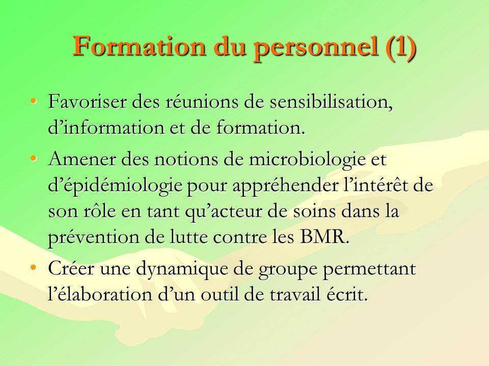 Formation du personnel (1) Favoriser des réunions de sensibilisation, dinformation et de formation.Favoriser des réunions de sensibilisation, dinforma