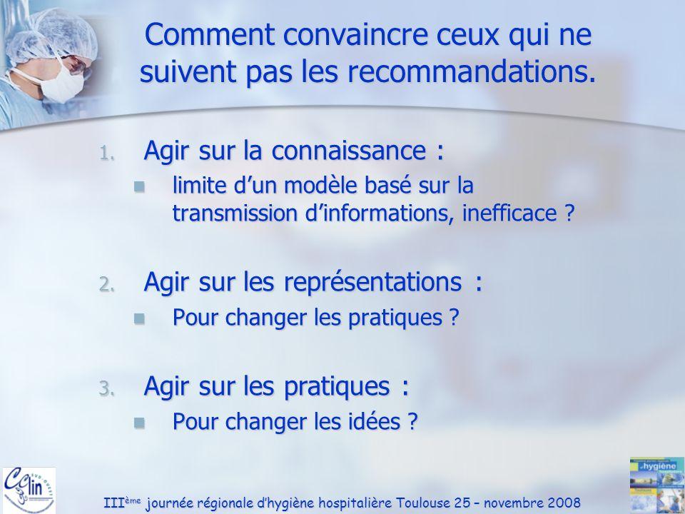 III ème journée régionale dhygiène hospitalière Toulouse 25 – novembre 2008 Comment convaincre ceux qui ne suivent pas les recommandations. 1. Agir su