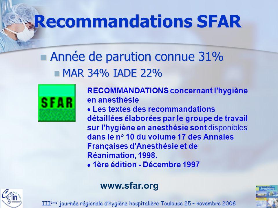 III ème journée régionale dhygiène hospitalière Toulouse 25 – novembre 2008 Recommandations SFAR Année de parution connue 31% Année de parution connue