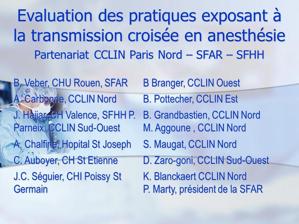 Evaluation des pratiques exposant à la transmission croisée en anesthésie Partenariat CCLIN Paris Nord – SFAR – SFHH B. Veber, CHU Rouen, SFAR B Brang
