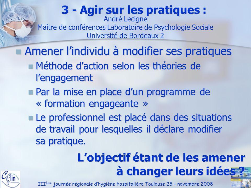 III ème journée régionale dhygiène hospitalière Toulouse 25 – novembre 2008 Amener lindividu à modifier ses pratiques Amener lindividu à modifier ses