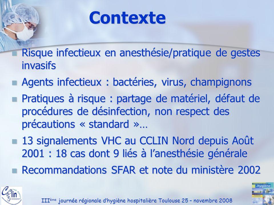 III ème journée régionale dhygiène hospitalière Toulouse 25 – novembre 2008 Matériels et DM Entretien des lames de laryngoscope : Entretien des lames de laryngoscope : Usage unique : 77% Usage unique : 77% Usage multiple : 23% Usage multiple : 23% Un seul nettoyage : 19% Un seul nettoyage : 19% Désinfection : -- Désinfection : -- Désinfection+stérilisation : -- Désinfection+stérilisation : -- inadapté dans 19 %