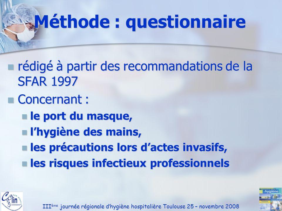 III ème journée régionale dhygiène hospitalière Toulouse 25 – novembre 2008 Recommandations SFAR Année de parution connue 31% Année de parution connue 31% MAR 34% IADE 22% MAR 34% IADE 22% RECOMMANDATIONS concernant l hygiène en anesthésie Les textes des recommandations détaillées élaborées par le groupe de travail sur l hygiène en anesthésie sont disponibles dans le n° 10 du volume 17 des Annales Françaises d Anesthésie et de Réanimation, 1998.