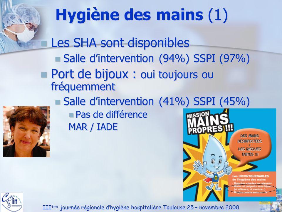 III ème journée régionale dhygiène hospitalière Toulouse 25 – novembre 2008 Hygiène des mains (2) Lhygiène des mains est respectée : Lhygiène des mains est respectée : Après contact avec un liquide biologique (96%) Après contact avec un liquide biologique (96%) Avant contact avec un nouveau patient (52%) Avant contact avec un nouveau patient (52%) MAR 45% / IADE 69% MAR 45% / IADE 69% Après retrait des gants (31%) Après retrait des gants (31%) Différence MAR 33% / IADE 21% Différence MAR 33% / IADE 21%