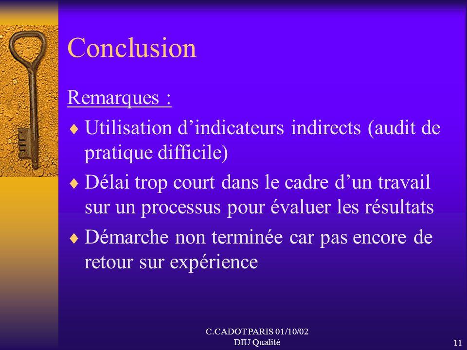 C.CADOT PARIS 01/10/02 DIU Qualité10 Le plan damélioration Objectif : Augmenter la sécurité en diminuant les risques inacceptables : AES liés à la man