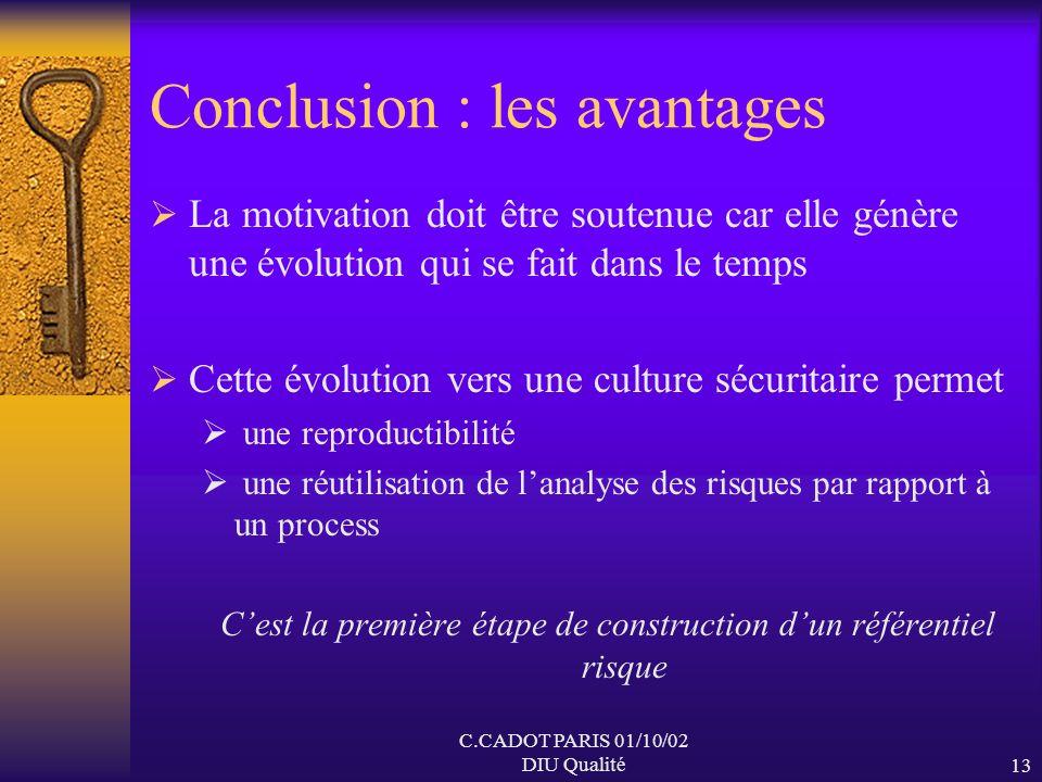 C.CADOT PARIS 01/10/02 DIU Qualité12 Conclusion : les avantages Lapproche globale et transversale conduit à une réflexion plus structurée une acquisit