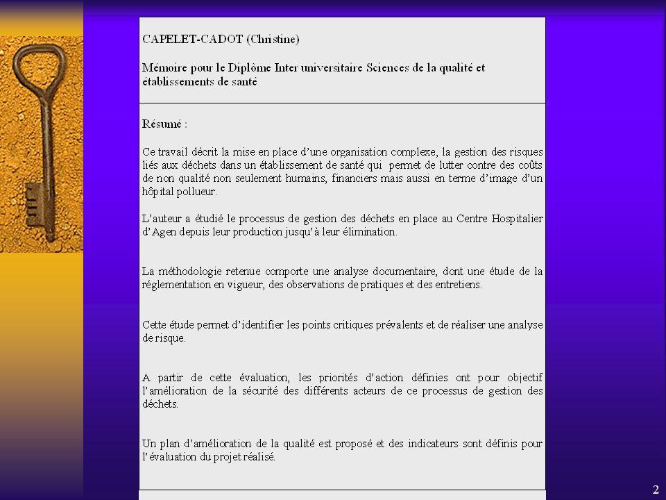 C.CADOT PARIS 01/10/02 DIU Qualité1 Vous avez-dit «déchets hospitaliers »? Alors parlons gestion des risques
