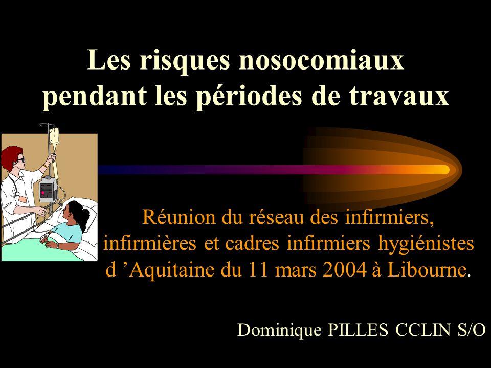 Les risques nosocomiaux pendant les périodes de travaux Réunion du réseau des infirmiers, infirmières et cadres infirmiers hygiénistes d Aquitaine du