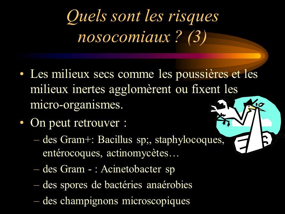 Quels sont les risques nosocomiaux ? (3) Les milieux secs comme les poussières et les milieux inertes agglomèrent ou fixent les micro-organismes. On p