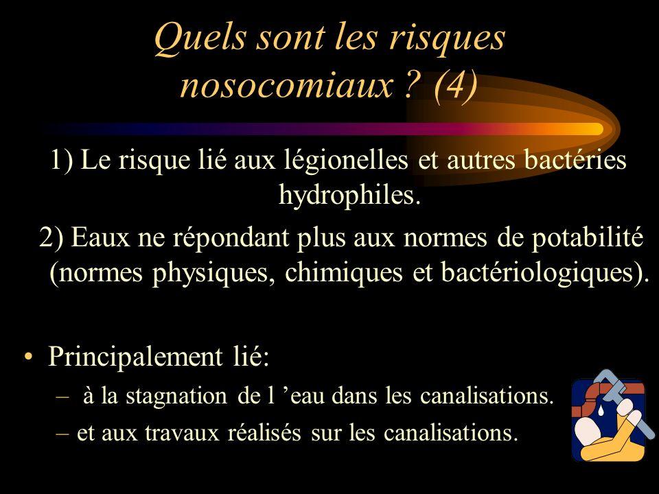 Quels sont les risques nosocomiaux ? (4) 1) Le risque lié aux légionelles et autres bactéries hydrophiles. 2) Eaux ne répondant plus aux normes de pot