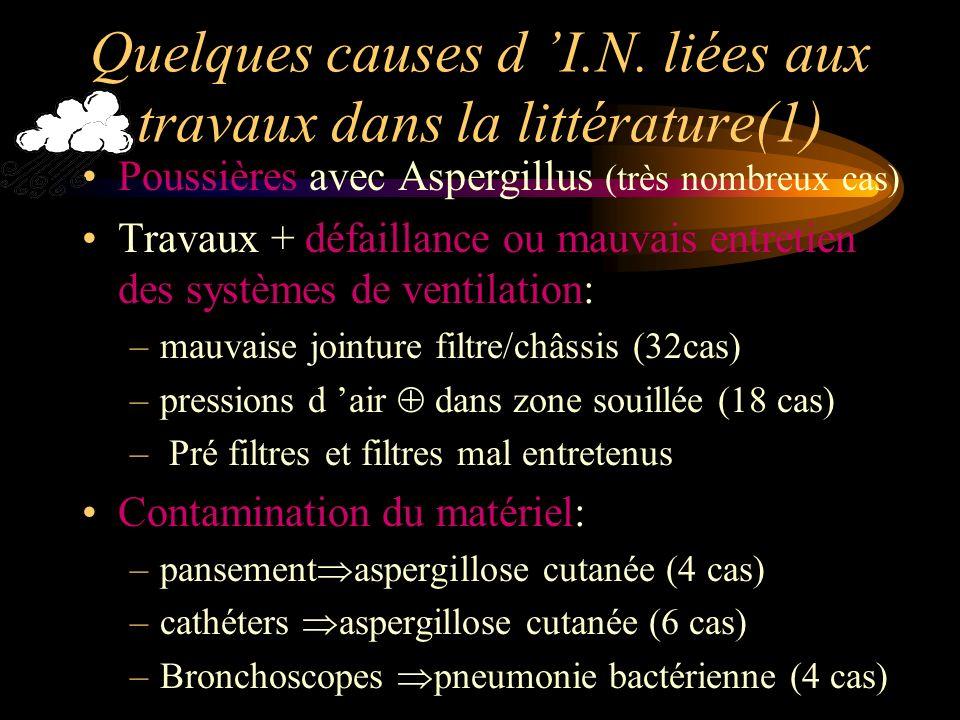 Quelques causes d I.N. liées aux travaux dans la littérature(1) Poussières avec Aspergillus (très nombreux cas) Travaux + défaillance ou mauvais entre