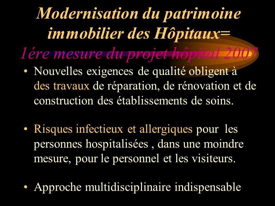 Modernisation du patrimoine immobilier des Hôpitaux= 1ére mesure du projet hôpital 2007 Nouvelles exigences de qualité obligent à des travaux de répar