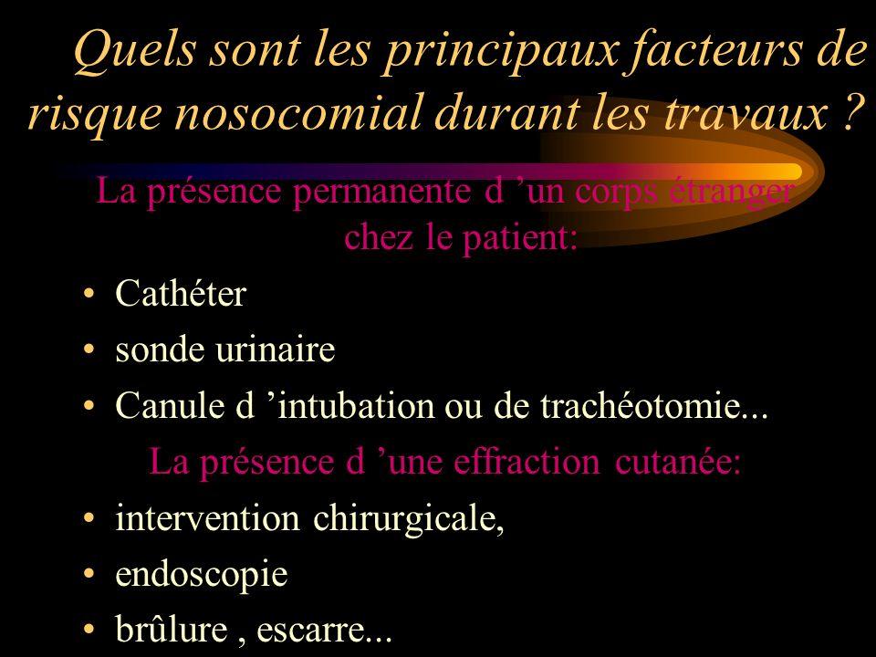 Quels sont les principaux facteurs de risque nosocomial durant les travaux ? La présence permanente d un corps étranger chez le patient: Cathéter sond