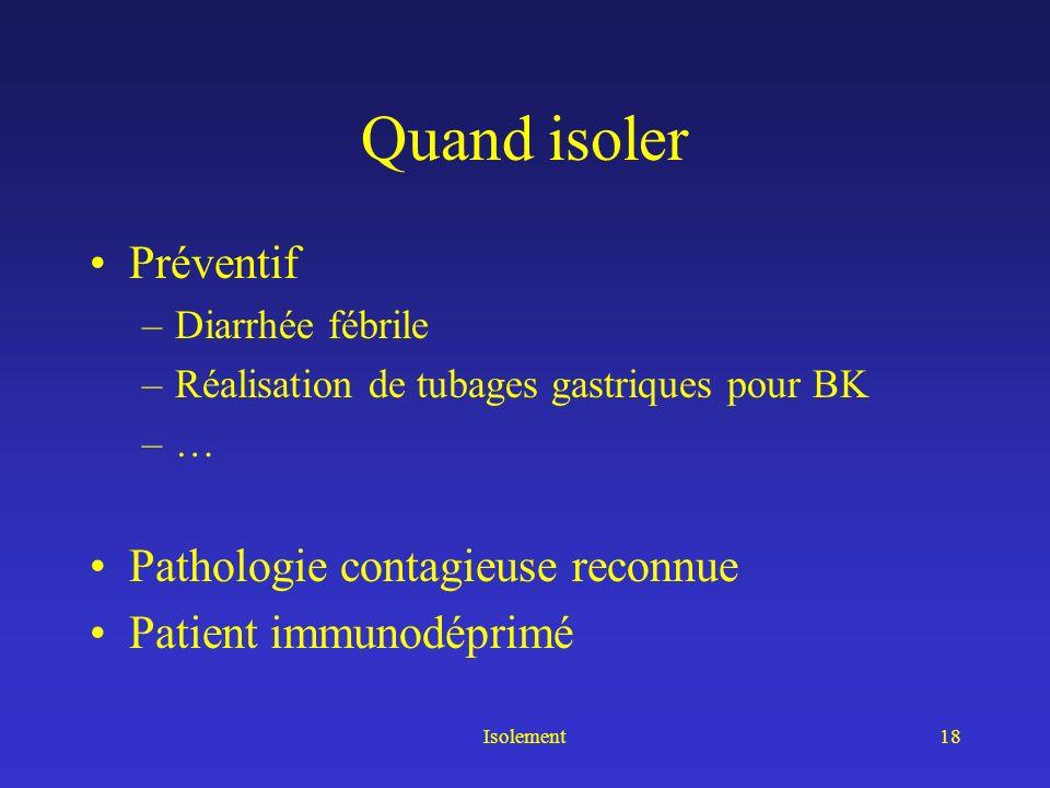 Isolement19 Conclusion Savoir isoler en préventif Adapter lisolement à la pathologie –Sans en faire trop –En évitant den faire trop peu Restons « simple »