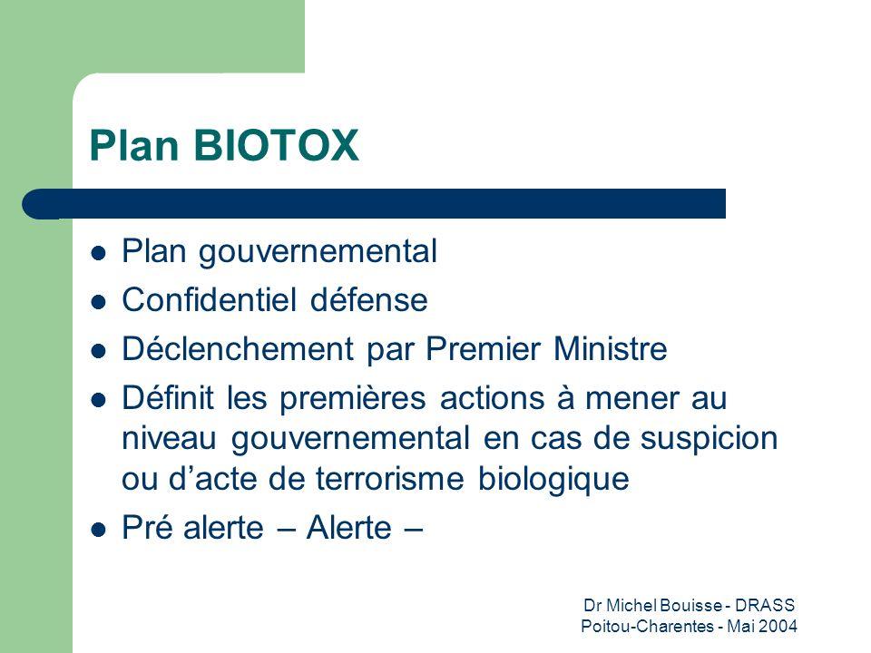 Dr Michel Bouisse - DRASS Poitou-Charentes - Mai 2004 Plan BIOTOX Plan gouvernemental Confidentiel défense Déclenchement par Premier Ministre Définit