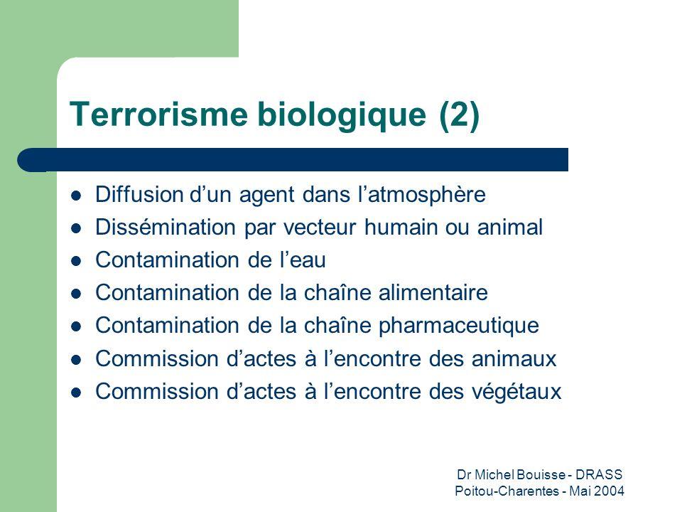 Dr Michel Bouisse - DRASS Poitou-Charentes - Mai 2004 Terrorisme biologique (2) Diffusion dun agent dans latmosphère Dissémination par vecteur humain