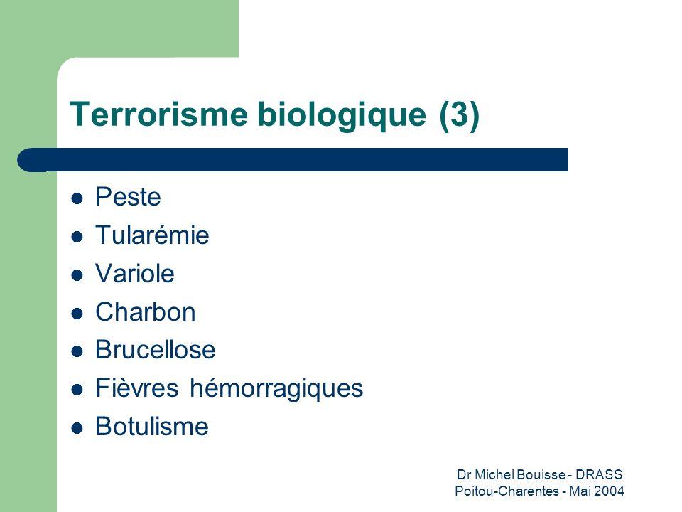 Dr Michel Bouisse - DRASS Poitou-Charentes - Mai 2004 Terrorisme biologique (3) Peste Tularémie Variole Charbon Brucellose Fièvres hémorragiques Botul