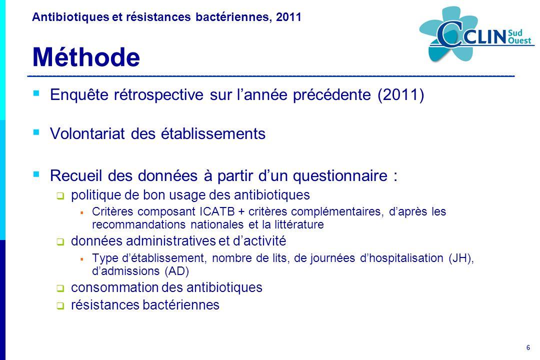 6 Antibiotiques et résistances bactériennes, 2011 Méthode Enquête rétrospective sur lannée précédente (2011) Volontariat des établissements Recueil de