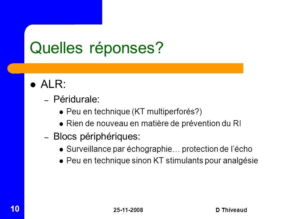 25-11-2008D Thiveaud 10 Quelles réponses? ALR: – Péridurale: Peu en technique (KT multiperforés?) Rien de nouveau en matière de prévention du RI – Blo