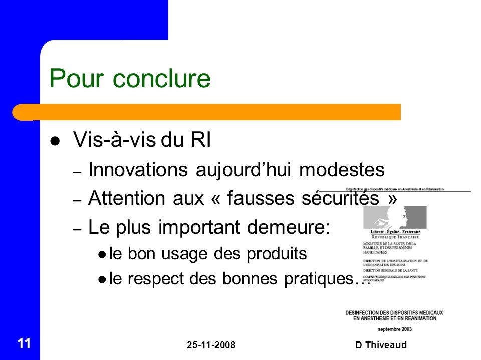 25-11-2008D Thiveaud 11 Pour conclure Vis-à-vis du RI – Innovations aujourdhui modestes – Attention aux « fausses sécurités » – Le plus important deme