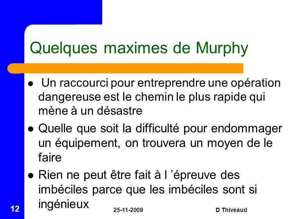 25-11-2008D Thiveaud 12 Quelques maximes de Murphy Un raccourci pour entreprendre une opération dangereuse est le chemin le plus rapide qui mène à un