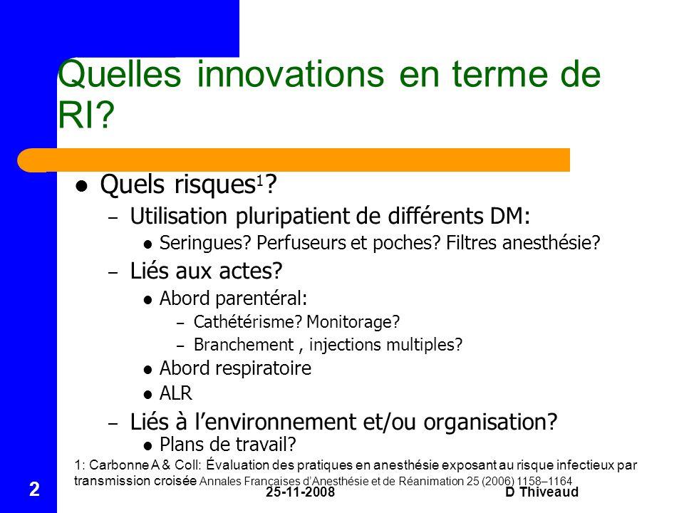 25-11-2008D Thiveaud 2 Quelles innovations en terme de RI? Quels risques 1 ? – Utilisation pluripatient de différents DM: Seringues? Perfuseurs et poc