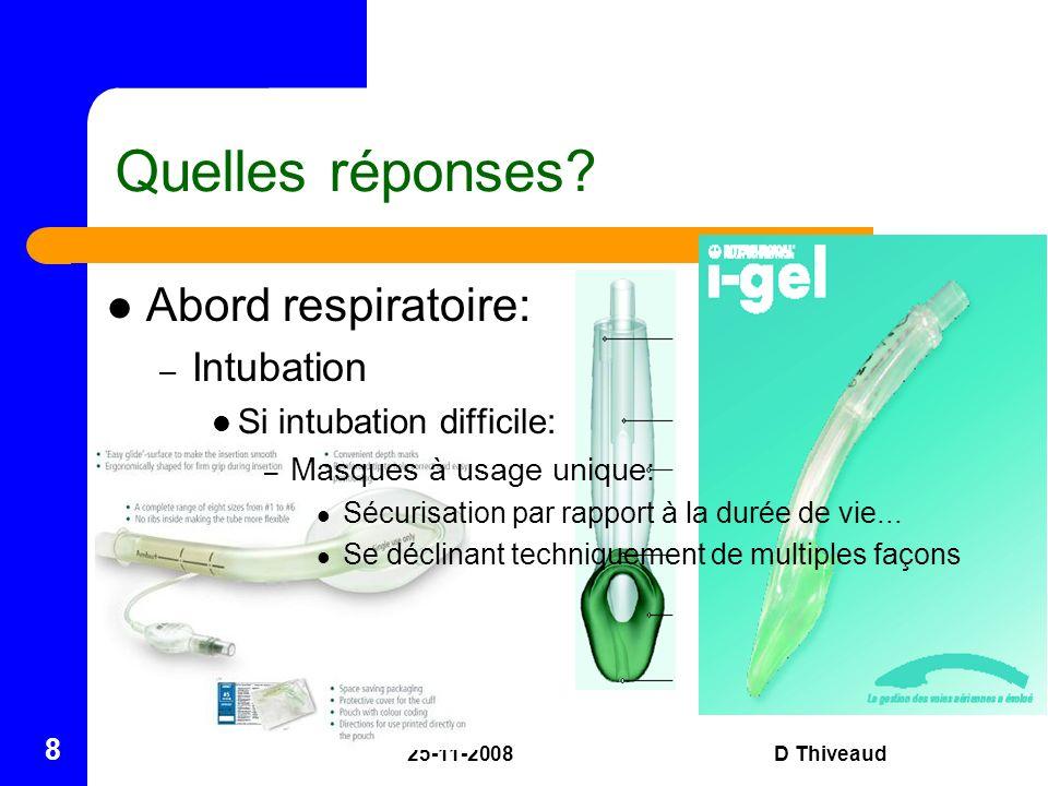 25-11-2008D Thiveaud 8 Quelles réponses? Abord respiratoire: – Intubation Si intubation difficile: – Masques à usage unique: Sécurisation par rapport