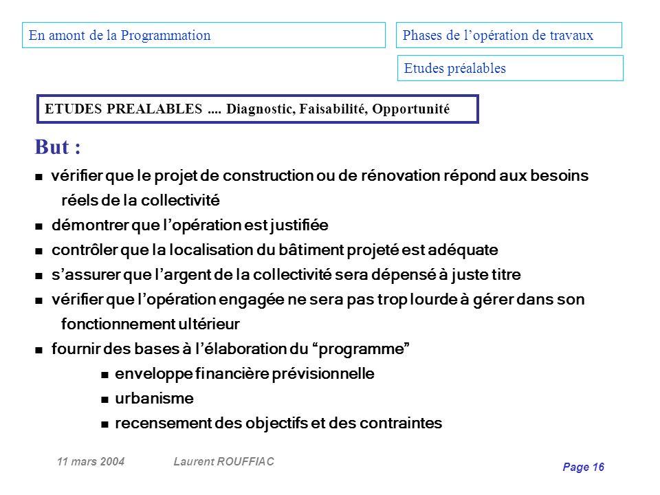 11 mars 2004Laurent ROUFFIAC Page 16 Phases de lopération de travaux Etudes préalables ETUDES PREALABLES.... Diagnostic, Faisabilité, Opportunité But