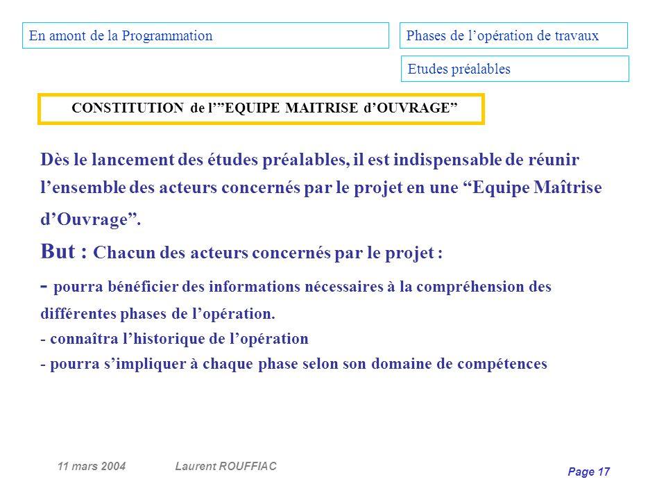 11 mars 2004Laurent ROUFFIAC Page 17 Phases de lopération de travaux Etudes préalables Dès le lancement des études préalables, il est indispensable de