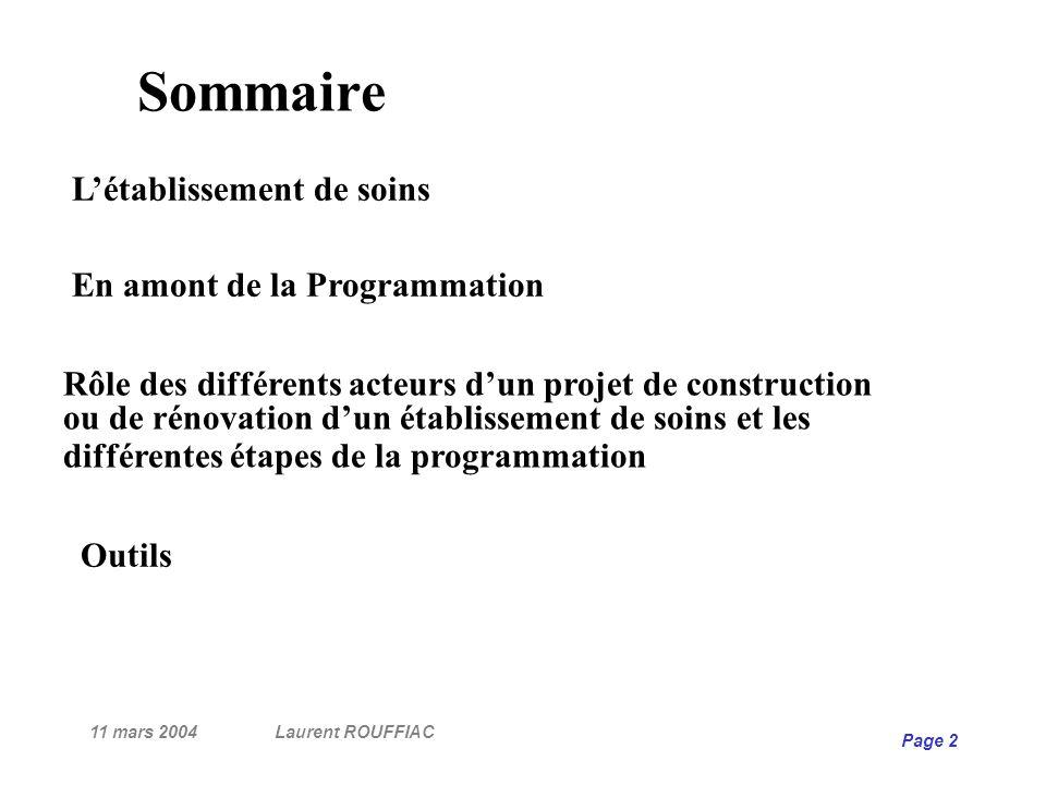 11 mars 2004Laurent ROUFFIAC Page 2 Sommaire Rôle des différents acteurs dun projet de construction ou de rénovation dun établissement de soins et les