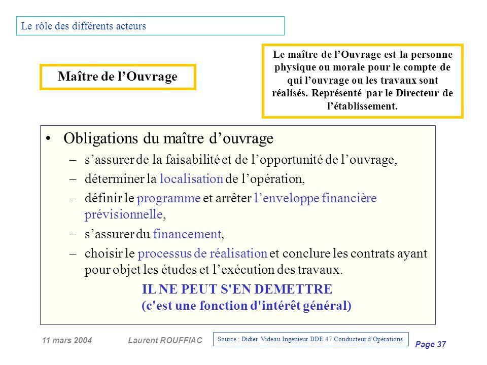 11 mars 2004Laurent ROUFFIAC Page 37 Le rôle des différents acteurs Maître de lOuvrage Obligations du maître douvrage –sassurer de la faisabilité et d