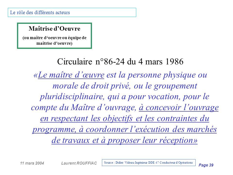 11 mars 2004Laurent ROUFFIAC Page 39 Circulaire n°86-24 du 4 mars 1986 «Le maître dœuvre est la personne physique ou morale de droit privé, ou le grou